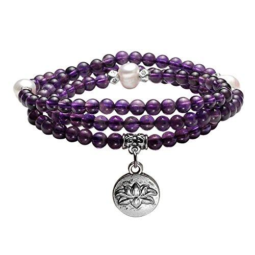 JOVIVI 4mm 108 Perlen Amethyst Tibetisches Armband mit Lotus Anhänger Wickelarmband Buddhismus Mala Kette Gebetskette Energietherapie Yoga Halskette Schmuck