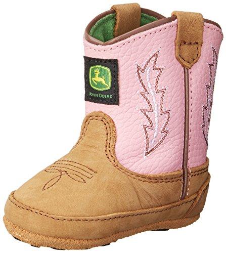 John Deere, Menina Bebê Engatinhando Sapatos E Puschen Tan / Rosa