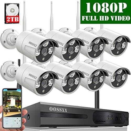 【2019 Nuovo】 Kit Sorveglianza Telecamera 8 Canali 1080P NVR Di Sorveglianza Wireless, Videosorveglianza WiFi Esterno/Interno 1080P, 8 x 1080P IP67 CCTV Visione Notturna Camera, 2TB Disco Rigido