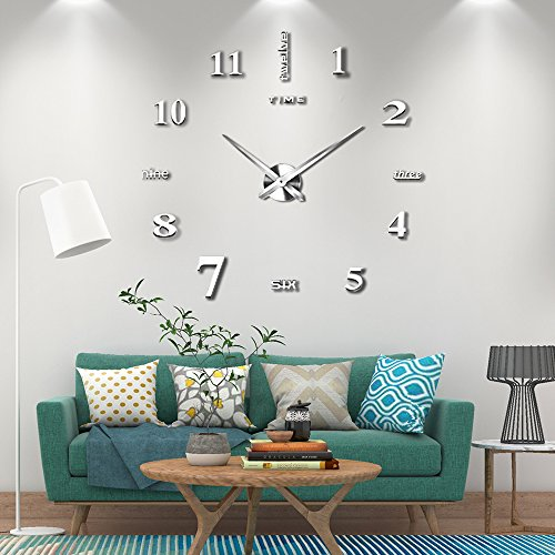 Vangold adesivo da parete con orologio moderno senza cornice, in metallo, con specchio in acrilico, 3d, ideale per fai da te e decorare la casa-2 anni di garanzia (argento)
