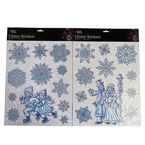 Weihnachten Dekorative Funkeln Fenster Aufkleber - Packung von 2 - Schneeflocken, Eislaufen Kinder (Funkeln, Schneeflocke-aufkleber)