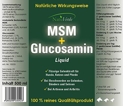 NatuVerde MSM + Glucosamin Liquid, 500 ml, flüssige Gelenkkraft für Hunde, Katzen und Pferde