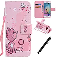 Samsung Galaxy S6 Edge Case,Galaxy S6 Edge Leather Cover,Beddouuk Magnetic Flip Cover PU Leather Wallet Case with Cash&Card Slots Folding Stand Function,Cat Pressed Pattern Design Book Case Folio Cover for Samsung Galaxy S6 Edge