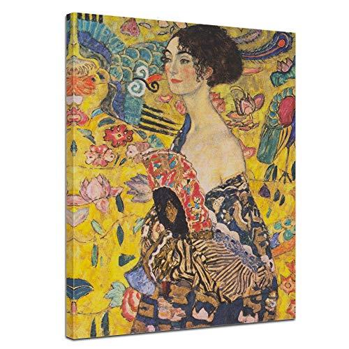 Wandbild Gustav Klimt Dame mit Fächer - 60x80cm hochkant - Wandbild Alte Meister Kunstdruck Bild auf Leinwand Berühmte Gemälde -