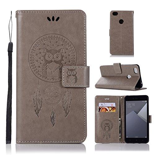 sinogoods Für Xiaomi Redmi Note 5A Hülle, Premium PU Leder Schutztasche Klappetui Brieftasche Handyhülle, Standfunktion Flip Wallet Case Cover - Grau