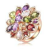 Anazoz Bague Élégant Romantique Valentin Multicolore 18K Plaqué Rose Or Aaa Suisse Zircon Cubique Cristal Engagementmariage Bagues Taille 59...