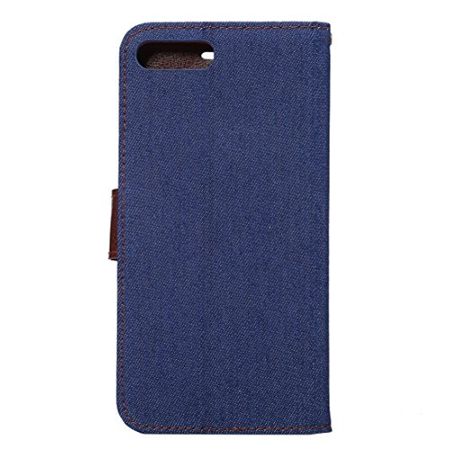 Hülle für iPhone 7 plus , Schutzhülle Für iPhone 7 Plus Cowboy Tuch Textur Magnetische Adsorption Horizontale Flip Leder Tasche mit Card Slot & Holder & Wallet ,hülle für iPhone 7 plus , case for ipho Dark Blue