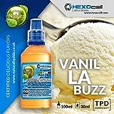 E LIQUID PARA VAPEAR - 30ml Vanilla Buzz (Helado de vainilla de lujo) Shake n Vape Liquido para Cigarrillo Electronico, Shake and Vape E-Liquido sin Nicotina