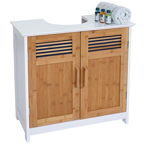 Waschbeckenunterschrank HWC-A85, Badschrank Bambus, 60x62x31cm weiß