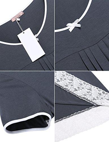 Unibelle Damen Nachthemd Nachtwäsche Nachtkleid Baumwolle Negligee Nachtkleid Sleepshirt Kurzarm Mit Spitzenbesatz S-XXL Grau