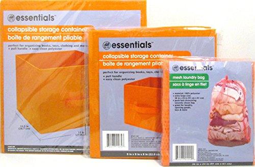 Essentials klappbar Container mit Pull Griff und Mesh Utility Tasche Set, Polyester-Mischgewebe, Orange, Various size containers (Waschküche Container)