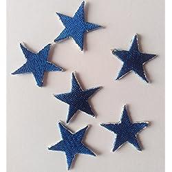 toppa stella rock toppa termodesiva toppa patch toppa stelle piccole stelle 6 pezzi vari colori (blu)