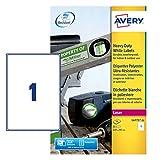 Avery - L4775-20 - 20 étiquettes adhésives blanches ultra résistantes. 210x297mm. Impression laser