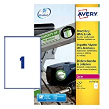 Avery L4775-20 Extra-Strong Adhesive Heavy Duty Weatherproof Labels, 1 Label Per A4 Sheet