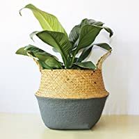 Samber Home Storage Organisation, Hand-Woven Foldable Plant Flower Pot Natural Seagrass Woven Basket Toy Storage Basket Wovening Laundry Basket Foldable Handcraft Weave Belly Basket with Handle(C/S)