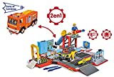 Smoby - 109251029002 - Sam le Pompier - Playset Camion Jupiter 2 en 1 Electronique - 1 figurine Sam + Quad
