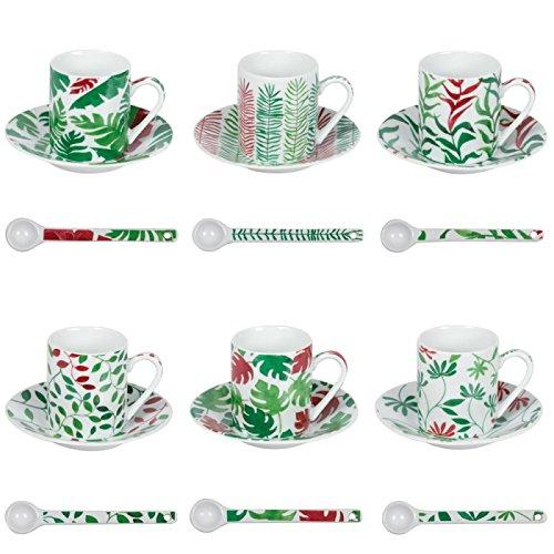 TABLE PASSION - COFFRET 6 TASSES ET SOUS TASSES A CAFE ET CUILLERES BORNEO ROUGE ASSORTIES