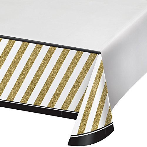 Bordüre Kunststoff-Tischdecke Zoll, Schwarz/Gold, 137,2x 259,1cm (Schwarzes Kunststoff-tischdecke)