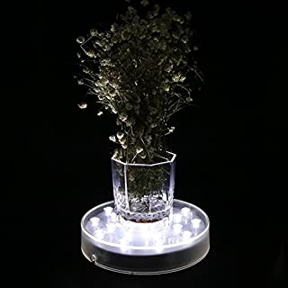 Acmee 6in Acrylic Round LED Vase Base Light with 25 Super Bright Leds for Vases Table Decoration (White Light) by Acmee