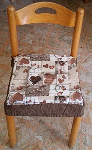 Intimodagiovanni n.6 cuscini coprisedia quadrati universali sfoderabili con zip shabby chic marrone new style