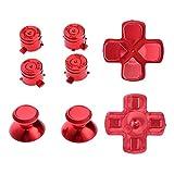 asiproper 7-Pad (Thumbsticks Tasten Und-Schraubendreher für PS4Controller, rot