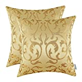 2 Packung CaliTime Kissenbezüge Kissen Shells Florales Vintage Jacquardmuster 45cm X 45cm Gold