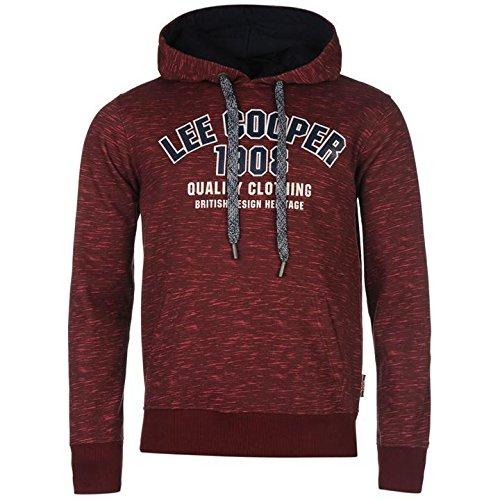 Lee Cooper strutturato felpa con cappuccio maglione bordeaux con cappuccio da uomo, Burgundy, S