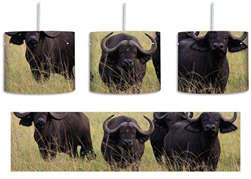 Herde Gras (wachsame Kaffernbüffel Herde inkl. Lampenfassung E27, Lampe mit Motivdruck, tolle Deckenlampe, Hängelampe, Pendelleuchte - Durchmesser 30cm - Dekoration mit Licht ideal für Wohnzimmer, Kinderzimmer, Schlafzimmer)