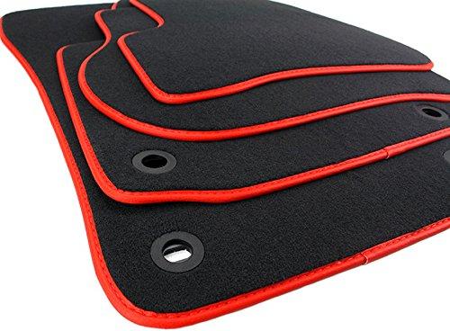 kfzpremiumteile24 Fußmatten / Velours Automatten Original Qualität Stoffmatten 4-teilig schwarz/rot Einfassung Lederrand