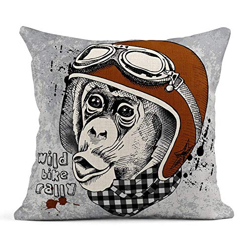 vikkk Dekokissenbezug Print Monkey Portrait im Retro Motorradfahrer Helm Checkered Cravat Kissenbezug einseitig Design Home Sofa Decor45x45 cm -