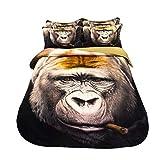 GFF Copripiumino 3D Gorilla Animal per Bambini Cartoon, Set di 3, Ragazze, Ragazzi, 3 Pezzi, Biancheria da Letto, Copripiumino Reversibile, Microfibra, Cotone, Rinforzo, Copripiumino, 160 * 210