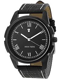 Swiss Trend ST2163 Exclusive Black Dial Black Bezel Analog Watch - For Men