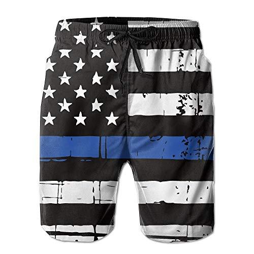 Naiyin Thin Blue Line American Flag Men's/Boys Casual Quick-Drying Bath Suits Elastic Waist Beach Pants with Pockets (XL)
