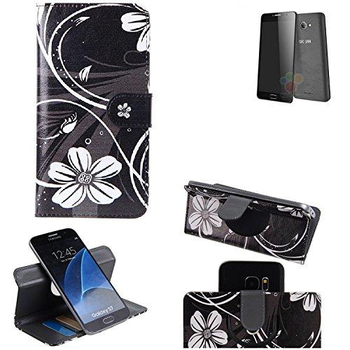 K-S-Trade® Schutzhülle Für Alcatel One Touch Pop 4S 32 GB Hülle 360° Wallet Case Schutz Hülle ''Flowers'' Smartphone Flip Cover Flipstyle Tasche Handyhülle Schwarz-weiß 1x