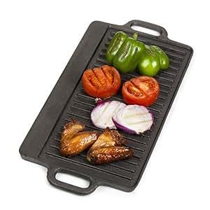 VonShef Plancha/Plaque de cuisson réversible barbecue - Grillade - 50 x 23 cm