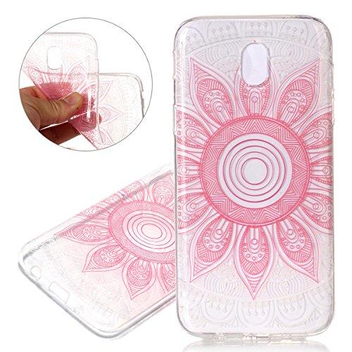 Hülle für Samsung Galaxy J7 2017, Case Cover für Samsung Galaxy J7 2017 [Scratch-Resistant] , ISAKEN Ultra Slim Perfect Fit Malerei Muster Weiche TPU Silikon Durchsichtig Transparent Protective Rückse Blume Pink