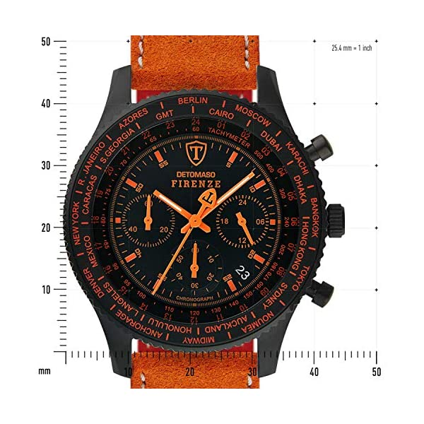 DETOMASO Firenze Reloj Caballero Cronógrafo Analógico Cuarzo Naranja