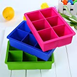 PartyHut DIY Creative Big Ice Cube Mold Square Shape Silicone Ice Tray/Fruit Ice Cube Maker/Chocolate Cookie Mold/Jelly Mold/Soap Mold/Candy Mold/Cake Mold with 4 Molds (Pack of 1)