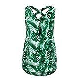 Ba Zha HEI Frauen Sommer Weste Top Sleeveless beiläufige Tank Bluse Tops Damen Schulterfrei Weiches Material Ladies Sommer Elegant Chic Oberteil Locker Bluse Tops T-Shirt (Grün C, M)