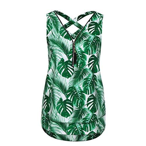 Ba Zha HEI Frauen Sommer Weste Top Sleeveless beiläufige Tank Bluse Tops Damen Schulterfrei Weiches Material Ladies Sommer Elegant Chic Oberteil Locker Bluse Tops T-Shirt (Grün C, 5XL)