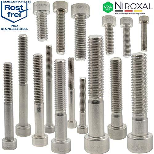 Edelstahl Zylinder-Schraube rostfrei V2A M5-mm stark 35-mm Schrauben-Länge 50 Stück 25-mm Teil-Gewinde Innensechskant M5x35