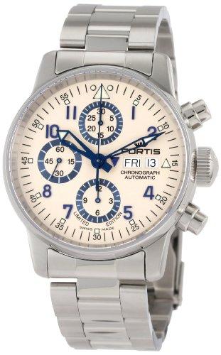 Fortis 597.20.92 - Reloj de Pulsera para Hombre, diseño de cronógrafo con Espiral, edición Limitada, Acero Inoxidable, con Detalles Azules