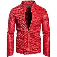 YaXuan Chaqueta de Cuero de los Hombres, Moda Otoño Motocicleta PU Cuero Masculino Invierno Negocio Chaquetas de Aviador Ropa de Abrigo Abrigo de Cuero (Color : Rojo, tamaño : S)