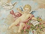 artemariani by Mariani Fresken 1886, Reproduktion Engel mit Tauben Klebende Leinwand 60x80x3 cm mehrfarbig