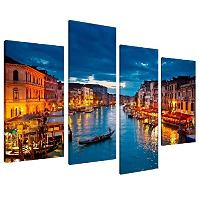 Large Blue Venice Italy Canvas Wall Art Pictures Set XL 130cm - 4068 - cheap UK canvas store.