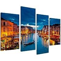 Wallfillers Cuadros en Lienzo Grande Venecia Azul Italia Set Cuadros XL 130cm - 4068