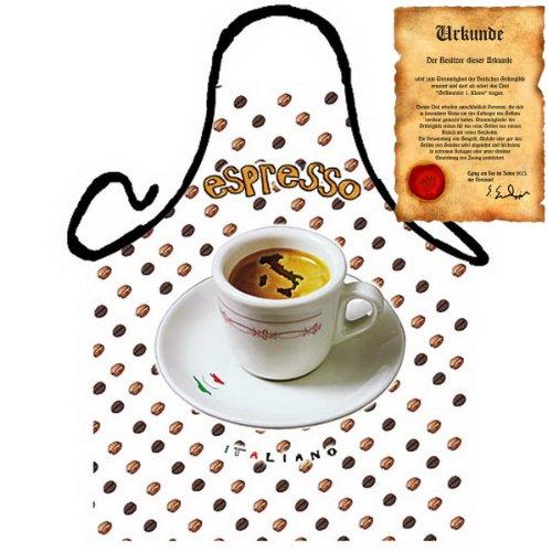 Kaffeetrinker Kochschürze - zum Geburtstag: Espresso - Geschenke Frühstück mediterrane Küche one Size, bunt mit gratis Urkunde : ) (Espresso-frühstück)