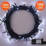100 LED Helle Weiße Lichterketten String Licht 8 Funktionen/10 Meter - Power Betrieb LED Lichterketten - Ideal für Weihnachtsdeko LED Lichterkette (100 LED-10M) - Grünes Kabel - Innen und Außen
