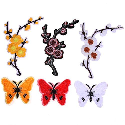 Zokra (TM) 3Pcs Aufn?her Plum Schmetterling n?hen auf Flecken Aufkleber Craft Kleidung Dekor Patches Stoff DIY N?hzubeh?r