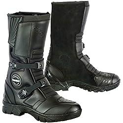 Bottes de cavalier en cuir moto imperméable moto courses d'hiver bottes motard aventure motard chaussures pour hommes - 8 / EU 42 noir